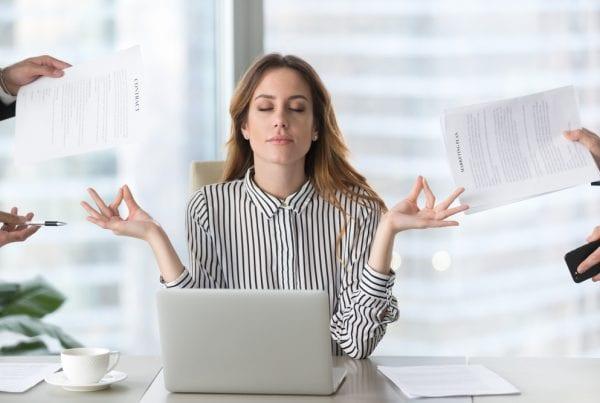 Business Woman Needing Work Life Balance
